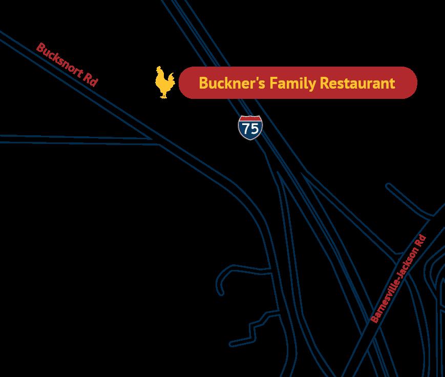 map to Buckners family restaurant