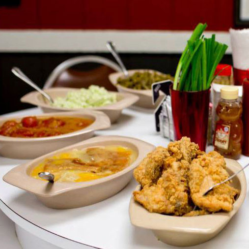 fried chicken and various sides
